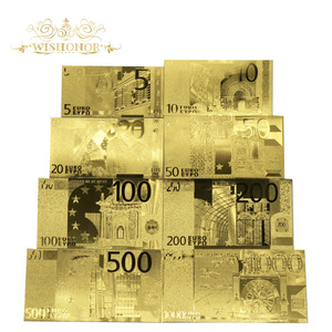 Wishonor 8pcs/lot Euro Banknotes 5 10 20 50 100 200 500 1000 Euro Gold Banknote in Gold Plated Replica For Beautiful Gifts