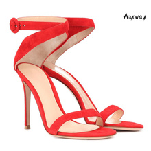 Aiyoway 2019 Spring Women Shoes Peep Toe High Heels Sandals Ladies Wedding Party Dress Shoes Cross Strap Ankle Buckle Red White lace design spring winter wedding women peep toe zipper shoes solid white red thin high heels sweet fretwork ankle boots women