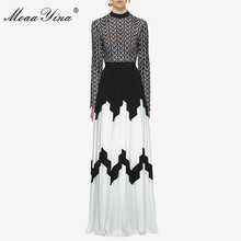 MoaaYina Fashion Designer Runway Dress Summer Women Long sleeve Stand collar Hollow out Patchwork Split Casual Ruched Maxi Dress duoupa 2019 new fashion dress summer dress small stand collar fashion stitching hollow long sleeve elegant dress women s
