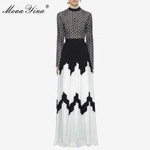 MoaaYina Fashion Designer Runway font b Dress b font Summer Women Long sleeve Stand collar Hollow