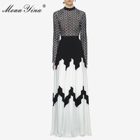 MoaaYina Fashion Designer Runway Dress Summer Women Long sleeve Stand collar Hollow out Patchwork Split Casual Ruched Maxi Dress