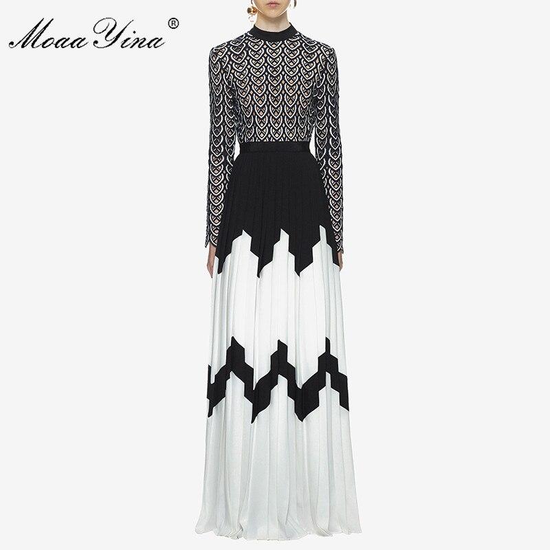 MoaaYina vestido de pasarela de diseñador de moda de verano para mujeres de manga larga cuello de pie hueco Patchwork dividido Casual fruncido Maxi vestido