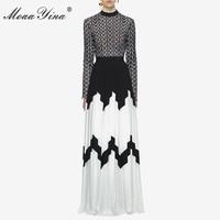 Moaayina модельер взлетно-посадочной полосы платье летом Для женщин с длинным рукавом и стоячим воротником выдалбливают Лоскутная Разделение ...