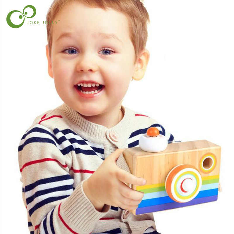 Caleidoscópio de madeira para crianças, câmera de madeira brinquedo com desenhos animados para educação infantil, montessori, brinquedo de aprendizagem, presente wyq