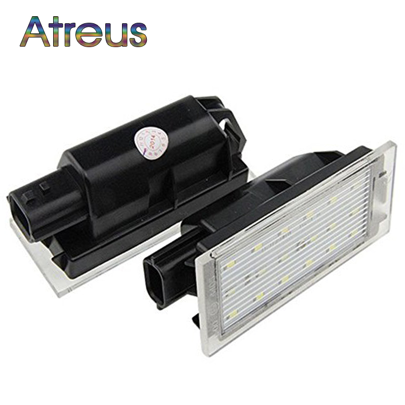 Atreus Car LED For Renault Megane 2 3 Clio Laguna 2 Twingo Master Vel Satis 2006 License Number Plate Lights 12V White SMD lamp yatour for renault clio twingo laguna megane scenic escape tuner list update list car digital cd music changer usb mp3 adapter