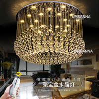 LED Dimmable Chandeliers Modern Crystal Chandelier Light Fixture 3 Light Colors Dimming Hanging Pendant Lamps Indoor Droplight