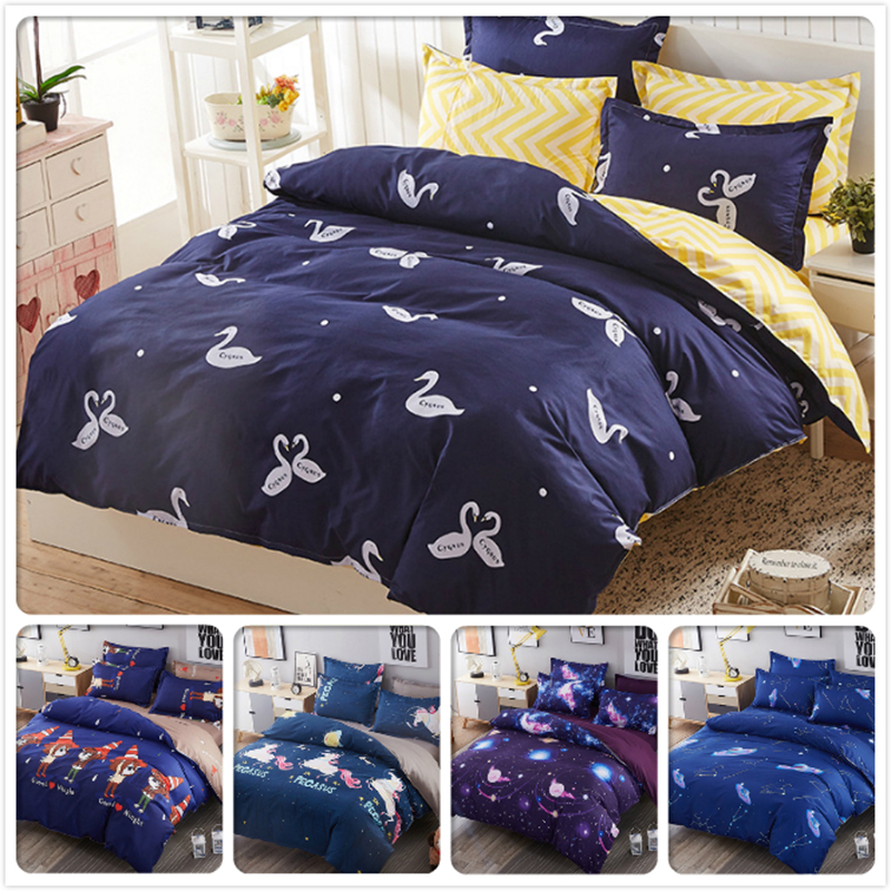 Swan Pattern Print Winter Cotton Duvet Cover Kids Bed Linen 3/4 pcs Bedding Sets Single Double Twin Queen King Size 1.8m 2m 2.2m