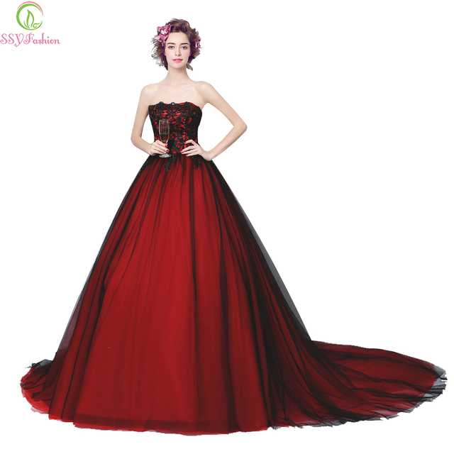 Luxury Lace Evening Dress 2017 Ssyfashion Wine Red Strapless Sleeveless Long Tail Prom Bride Banquet