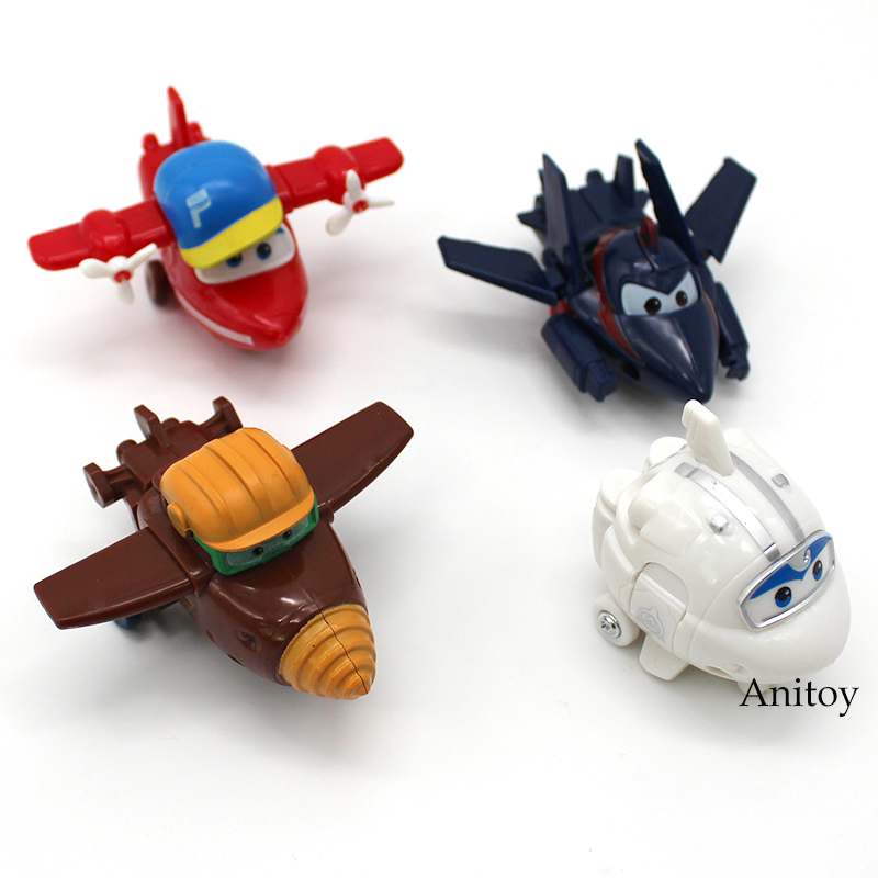 Super Wings Planes Transformation Robot PVC Figures Toys for Kids Boys Gifts 4pcs/set 15 cm jimbo super wings mini airplane abs robot toys action figures super wing transformation jet animation children kids gift