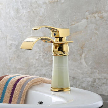 Free Shipping Royal Solid Brass Marble body Faucet Waterfal Bathroom basin Faucet Single Handle gold color Mixer Tap ZR803