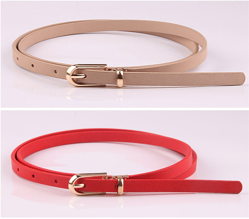 Women Faux Leather Belts Girl Candy Color Thin Skinny Waistband Adjustable Belt