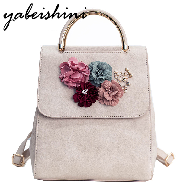 YABEISHINI Fashion Flowers Backpack Fresh Style Backpacks For Teenage Girls School Bags 2017 New Floral Women Bag Sac A Dos anime 2017 new fashion woman backpack women nylon backpacks school bag women s casual style bags for girls 2v4234
