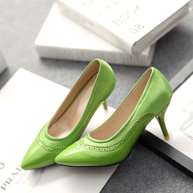 The new  fashion PU leather + silk women shoes solid lace Hollow-out decorative Candy color High heels large size 30-50