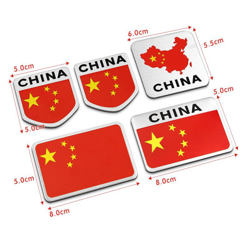 Automobile Motorcycle Exterior Accessories Chinese China National Flag Aluminum Alloy Car Stickers