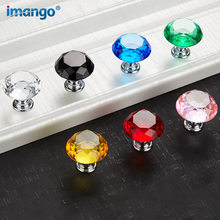 1 PCS Diamond Shape Crystal Glass Knob 30mm Drawer Knob Pull Handle Usd for Caebinet, Drawer Hand Furniture Hardware Accessories(China)