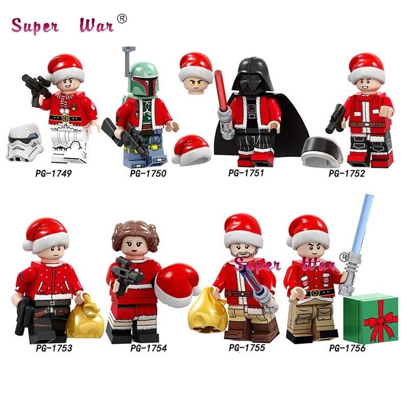 Single Santa  Merry Christmas  Leia Darth Vader  Building Blocks Model Bricks Toys For Children