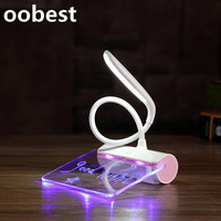 Oobest Creative Fluorescent Message Board Table Lamp LED Eye Care Reading Learning Light Touch Bedside USB