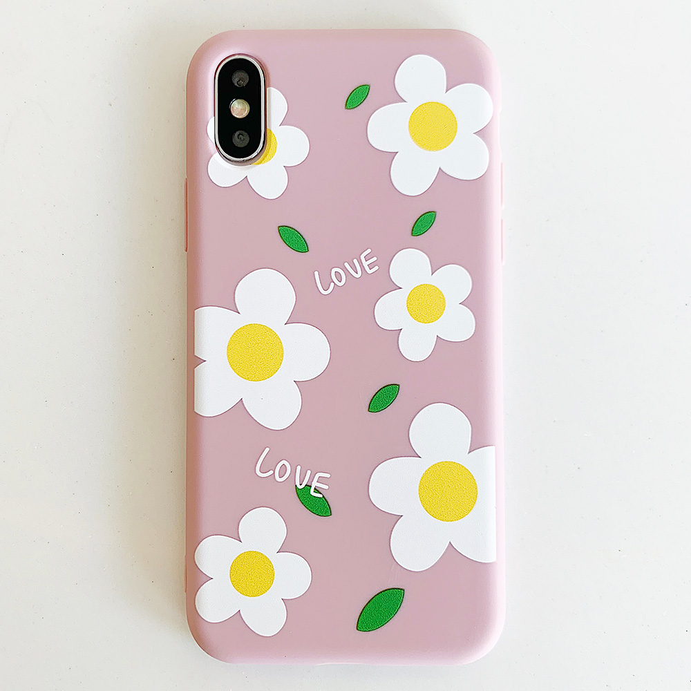 KIPX1113F_1_JONSNOW Matte Phone Case for iPhone 6S 6P 7 8 Plus Small Daisy Pattern Soft Silicone Cases for iPhone X XR XS Max Capa Fundas