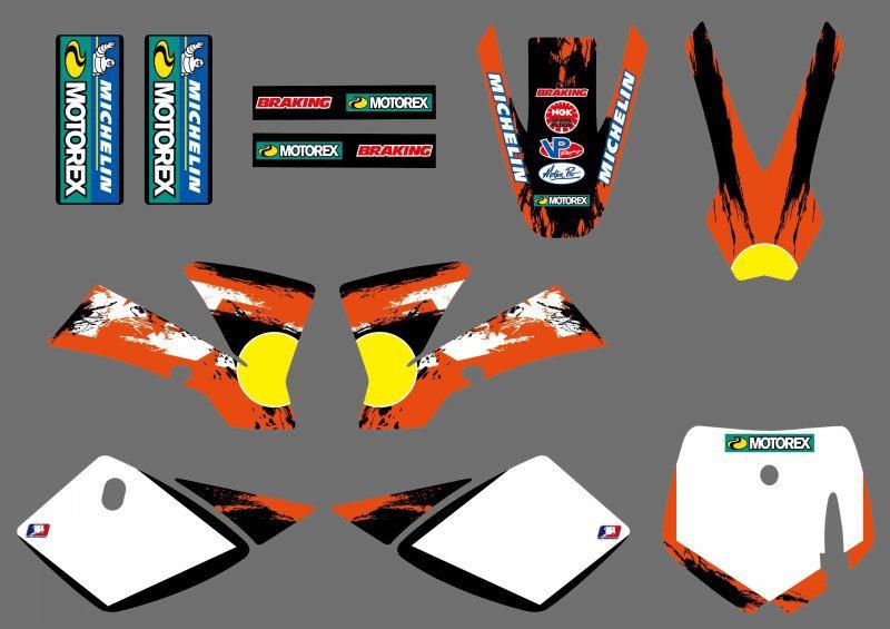 0251 nouvelle équipe de style autocollants graphiques Kits pour SX50 50CC 50 50SX pour KTM 50 2002 - 2008 2007 2006 2005 2004 2003