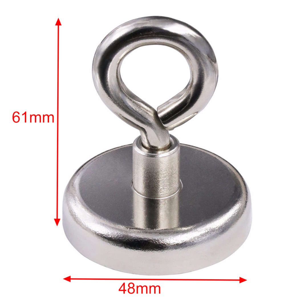 1pc 48mm Super Strong Recovery Detector Magnets Rare Earth Round Neodymium Magnet Eyebolt For River Fishing Lifting Hanging suleve 75x80mm neodymium recovery magnet metal detector eyebolt circular ring magnet 165kg