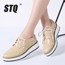 STQ 2020 Winter Women Flat Shoes Platform Sneakers Brogue Lace Up Heels Flat Shoes Women Leather Flats Casual Creepers Shoes 366
