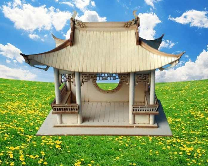 Chinese Classic Ancient wooden building model kits Xihu lake Sightseeing pavilion model