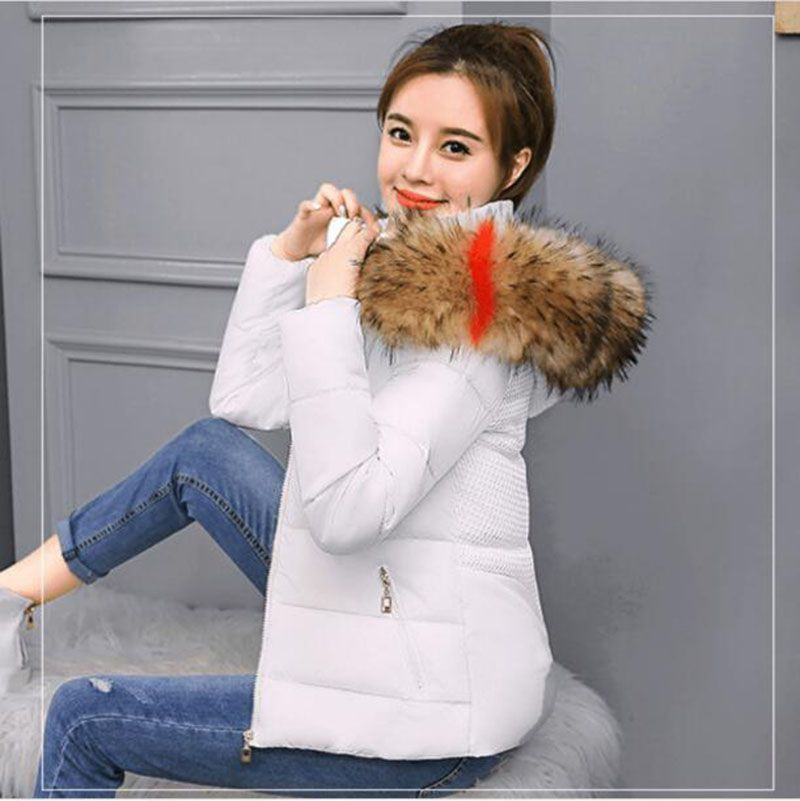 2018 Winter Women Warmth Down Jacket Cotton Slim Hooded fur collar coat Female White Thickened   Parkas   Coat Snow Wear Plus Size