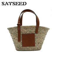 2019 Straw Bag woven Tote Super popular Large Capacity Basket Bag Luxury Designer High Quality Beach Bag Famous Brand