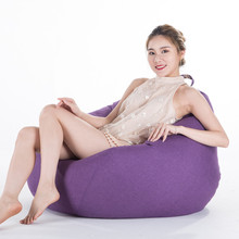 Solid Bean Bag Cover No Filler Living Room Bedroom Sofa Bed Lazy Casual Tatami Beanbag Chair Couch Cover Pouf Puff Line Cloth