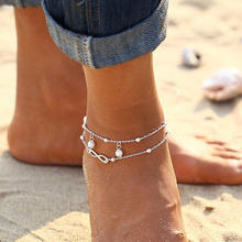 Fashion All-Match Infinity Anklet Silver Gold Color Double Chain Cross Summer Beach Bracelet Bangle Women Jewelry Gifts VQ217