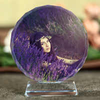 Marco de Fotos de cristal grabado con láser personalizado Marco de foto de boda de familia redonda álbum de San Valentín aniversario marcos de Fotos regalos