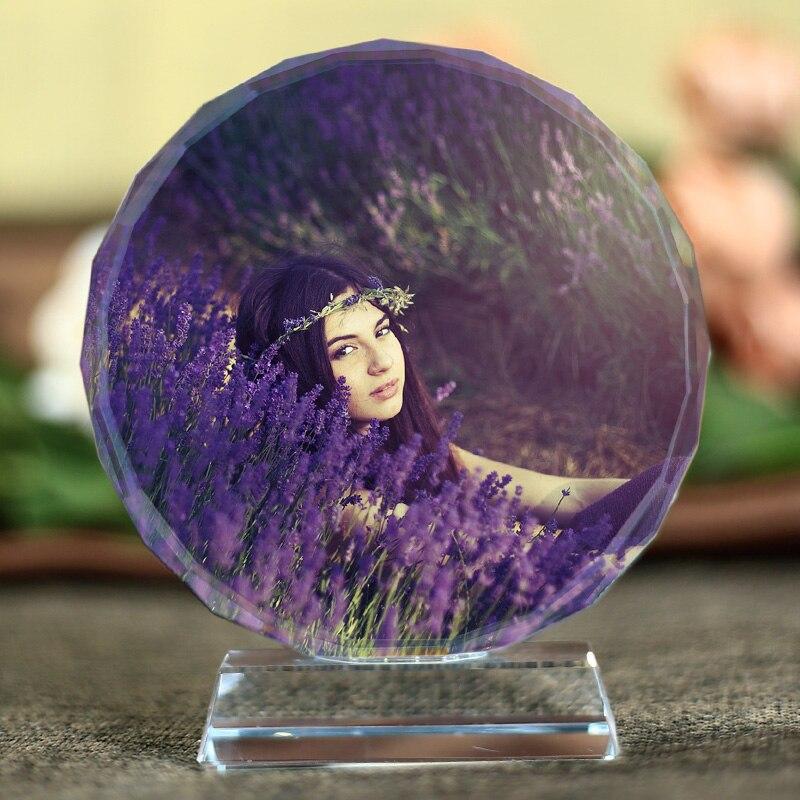 Personalizado Gravado A Laser de Cristal Fotos Quadro Rodada Molduras Família Álbum De Fotos Do Casamento de Aniversário do Dia Dos Namorados Presentes