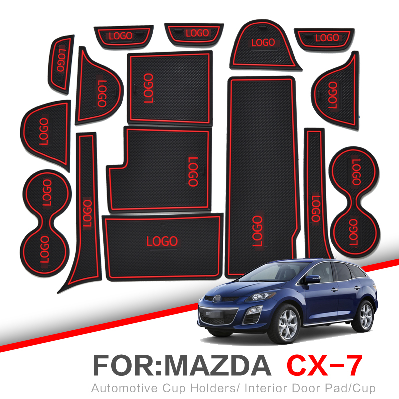 ZUNDUO Gate Slot Pad  For Mazda CX-3 CX-7 2006 - 2019 CX3 CX7 Interior Door Pad Car Cup Holders Non-slip Mats RED WHITE