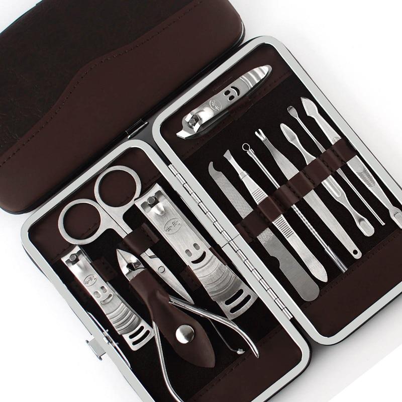 2018 / New / 12pcs Nail Kit Set Decoration Scissors Hair Clipper Earmuffs Practical Nail Clipper Set Stainless Steel Nail Care S