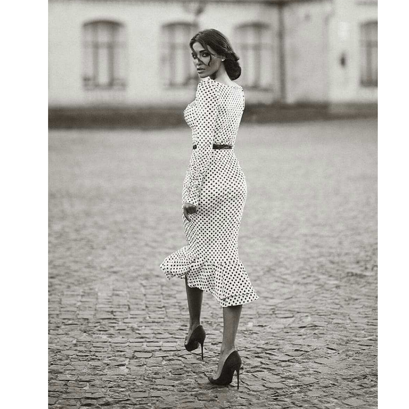 Elegant White Knotted Strap Polka-dot Mermaid Hem Summer Pencil Midi Dress Women Slim Bodycon Office Lady Ruffle Dresses 4