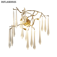 French Copper Lighting Artistic Branches Wall Lamp Hotel Sconce Copper Crystal Wall Lamp Light G9 3LED