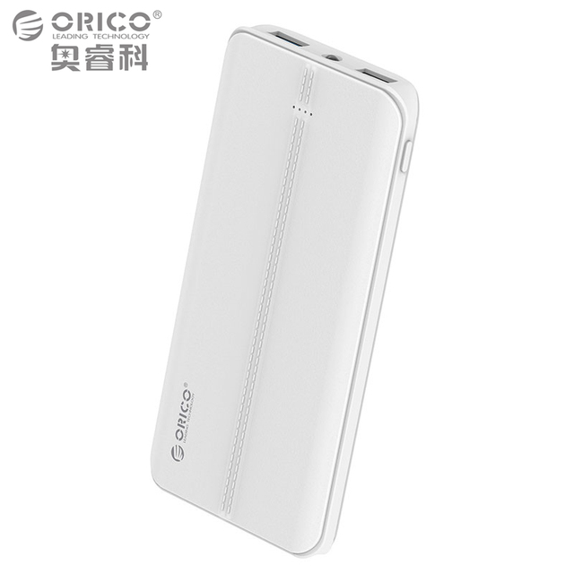 ORICO 10000mAh QC3.0 Power Bank External Battery Portable Mobile Backup Bank Charger for Android iPhones with Flashlight - White