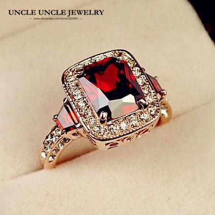 Topkwaliteit rode kristal luxe vrouw ring rose goud kleur perfect - Mode-sieraden