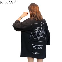 NiceMix Summer Harajuku T Shirt Women Casual Black Funny T-shirts O-neck Tumblr Tshirt Loose Long Tops Tee Vetement Femme 2019