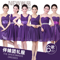 2017 new arrival short bridesmaid dress women formal gown chiffon purple a line off shoulder six styles for choose fashion cute
