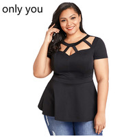 ALLEEN U Zomer T-Shirt Vrouwen Plus Size Korte Mouw Club Party Shirts Sexy O Hals Blusa Tops Caged Top Hol LC250752
