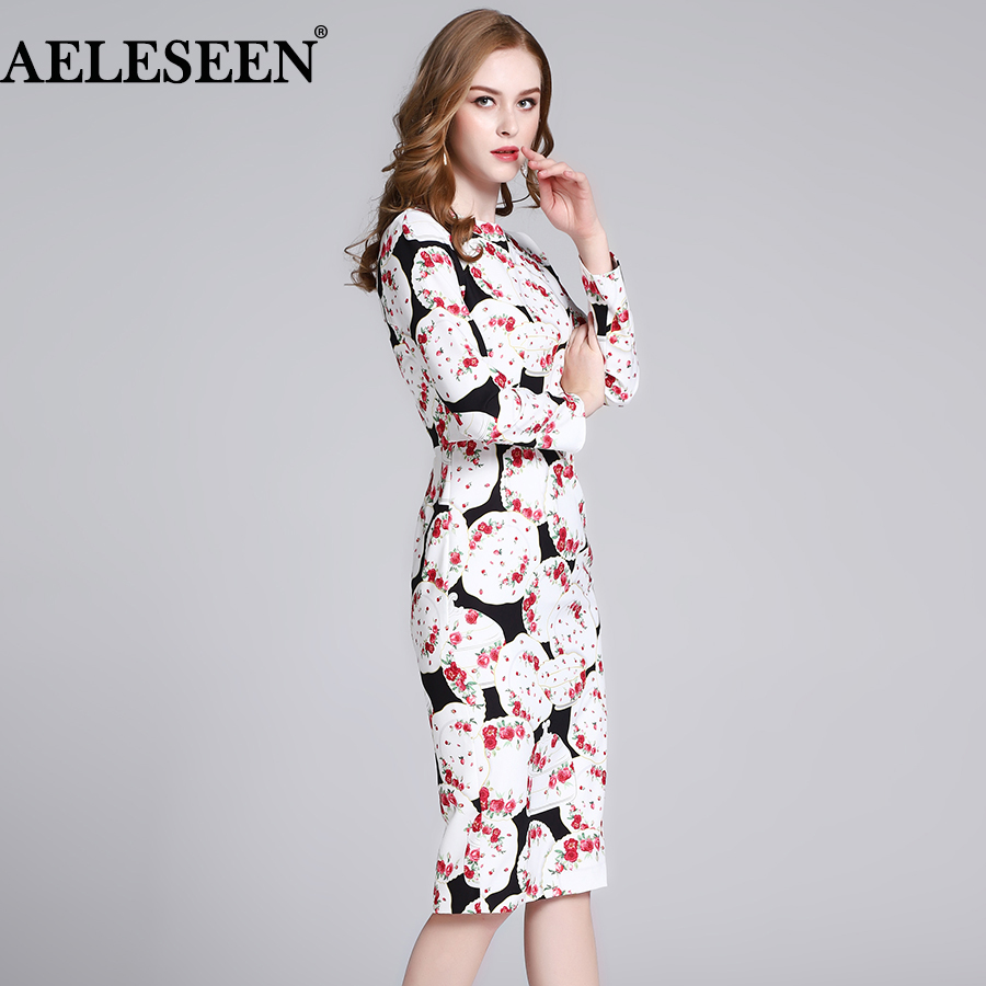 AELESEEN High Quality Women Dresses 2019 Spring Autumn Runway Fashion Full Sleeve Dishes Printed Dress Slim