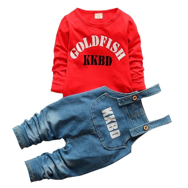 BibiCola 2017 Nowa Wiosna Jesień Dziecko Chłopcy Odzież Ustawia Niemowlę Dzieci dorywczo garnitury Dzieci Krata T-shirty + Cowboy Bib Pant Set