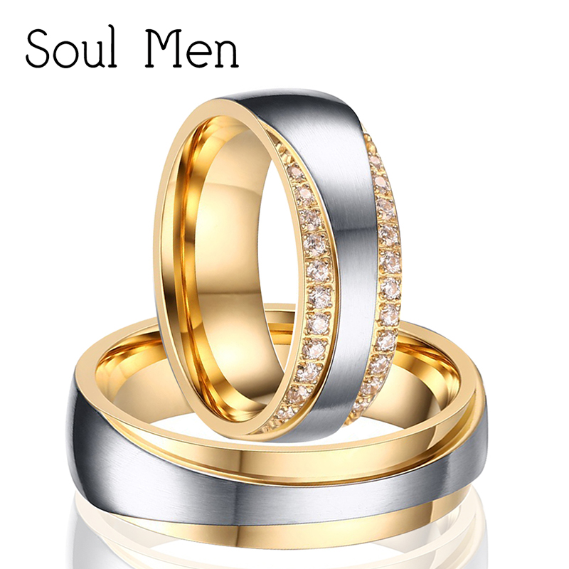Soul Men 1 Pair Lovers Gold Color Titanium Steel Infinity Design Engagement Ring with CZ Stone Wedding Band for Women & Men