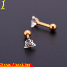 Puncture accessories Stainless Steel Anti - allergic band ball small ear bone nail  triangle white stone lip
