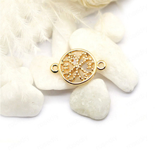 (34013)10PCS 13*9MM 24K Gold Color Plated Brass Round Flower Connect Charms High Quality Diy Jewelry Findings Accessories