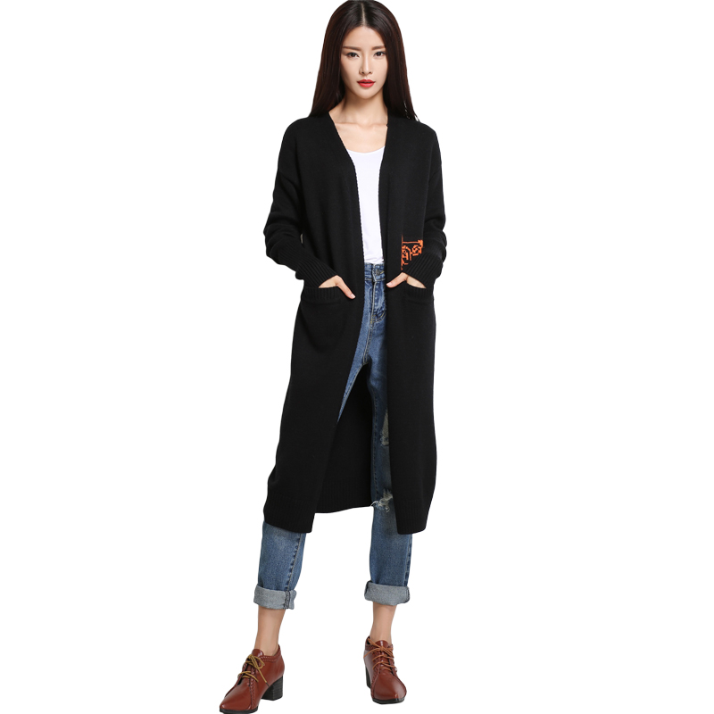 Large Cardigan Female Long Knitted Thick Cashmere Black Fashion Novelties Cardigan For Women With Pocket Warm
