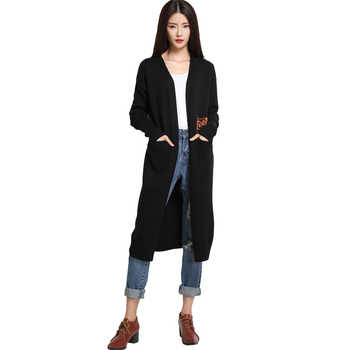 Large Cardigan Female Long Knitted Thick Cashmere Black Fashion Novelties Cardigan For Women With Pocket Warm Autumn Winter 2019 - DISCOUNT ITEM  38% OFF All Category