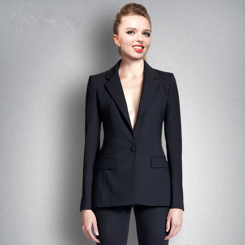 black one button office uniform designs women trouser suit