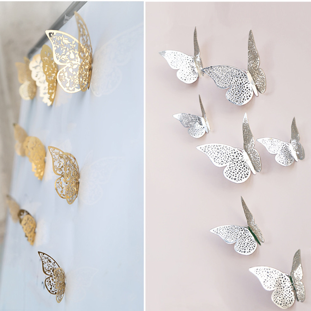 12PCS Hollow Cut 3D Butterfly Wall Stickers Fansy Acrylic Flower Cutting Mirror Butterfly Sticker DIY Room Decoration Drop Ship